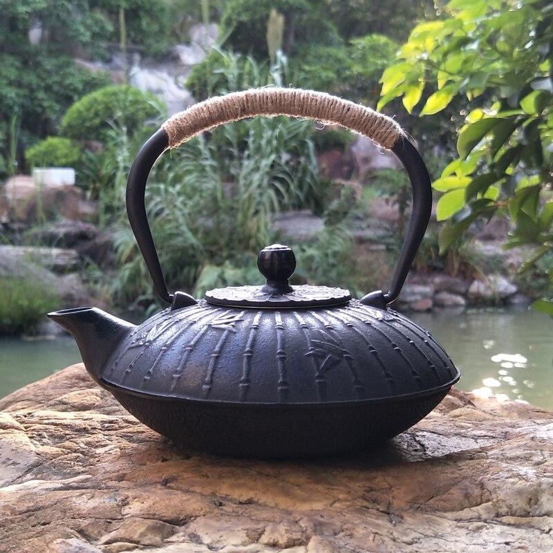 كبير غطاء معدني إبريق الشاي مقبض من الفولاذ المقاوم للصدأ اليابانية الحديد الزهر puer إبريق الشاي الصينية المارميت أون fonte ديكور المنزل QEA60CH