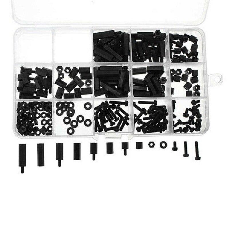 260 шт., нейлоновые распорки M3, черные стандартные шестигранные винтовые гайки, набор в ассортименте, комплект высокого качества