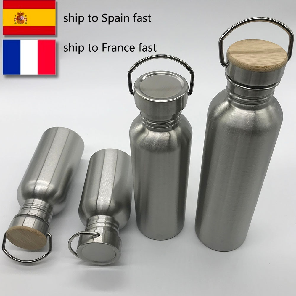Portable Stainless Steel Water Bottle with handle 1000ml/500ml/350ml Sports Flasks Travel Cycling Hi