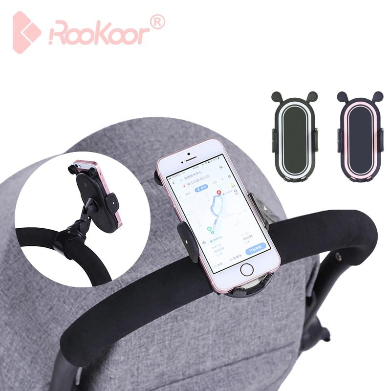 Rk 360 Degree Rotate Baby Stroller Accessories Universal Holder Adjustable Mount Bracket Mobile Phone Stander Black White Pink
