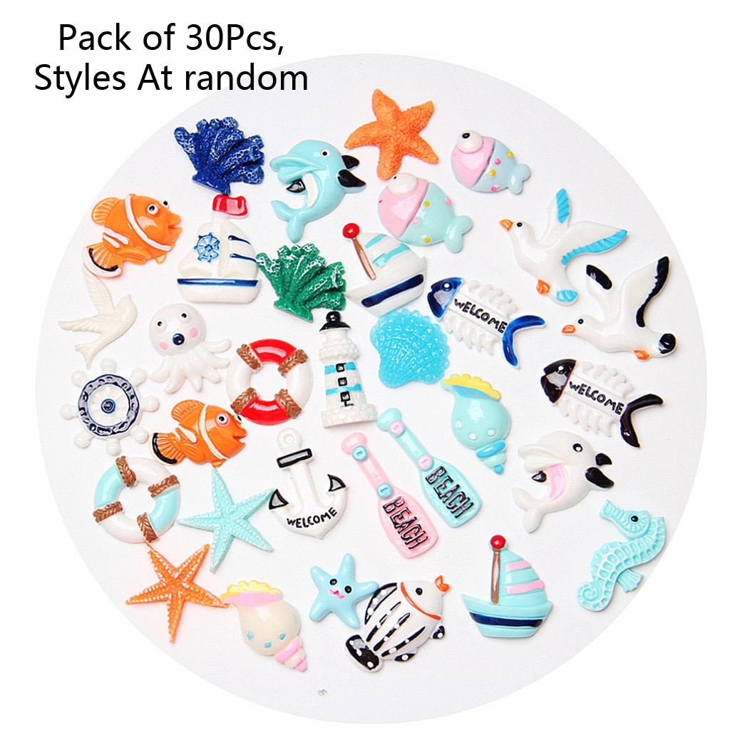30 colgantes en miniatura para parque marino, playa, verano, adorno de resina, fabricación de joyas
