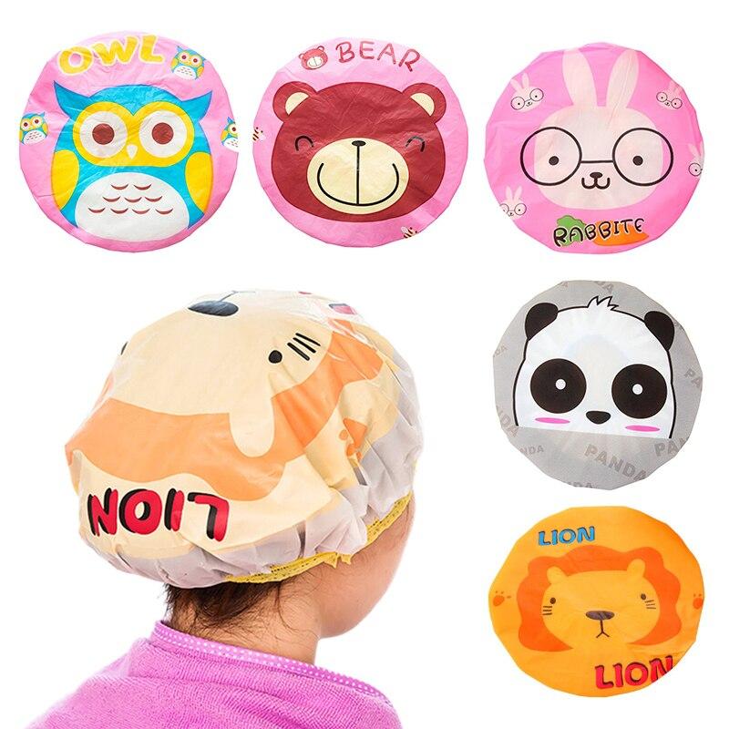 Resuable Cartoon Shower Cap Women Cute Hair Cover Hat Baths Saunas Lace With Elastic Band Spa Cap Women Children Cap