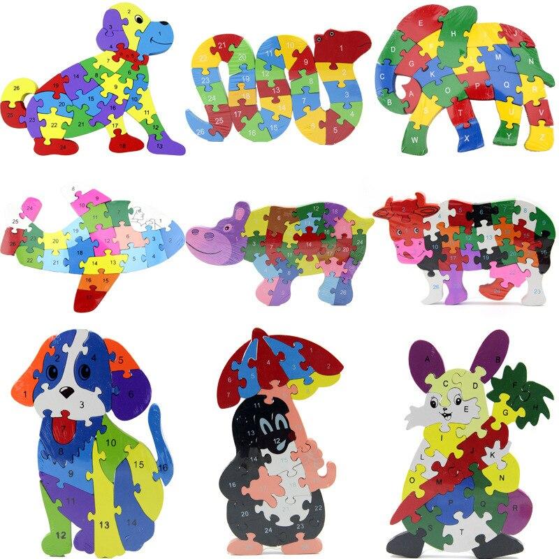 Nuevo estilo de Venta caliente Color con números letras animales rompecabezas niños juguete educativo científico y educativo