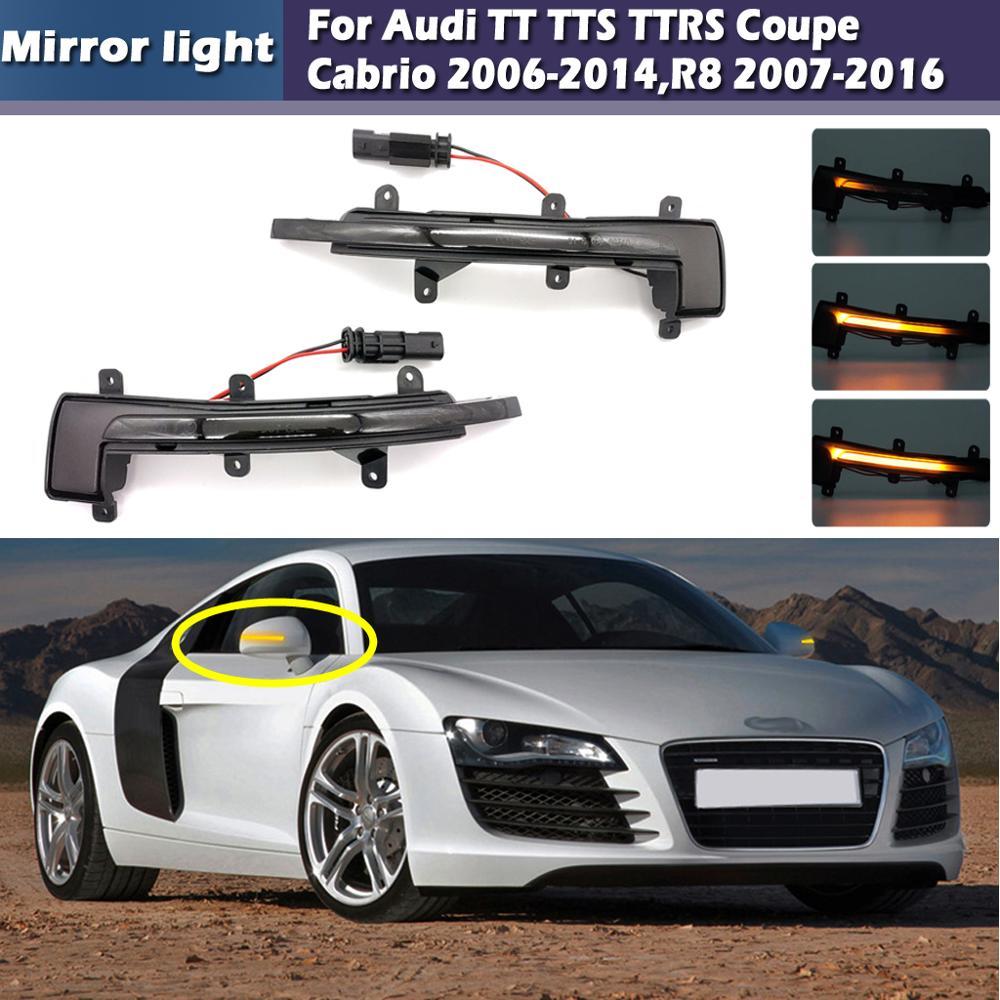 2 uds Luz de espejo lateral dinámica LED ámbar intermitente para Audi TT TTS TTRS Coupe Cabrio 2006-2014,R8 2007-2016, lente ahumada