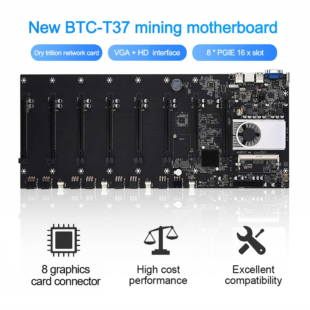 BTC-T37 minero placa base CPU 8 minero Video ranura para tarjeta DDR3...