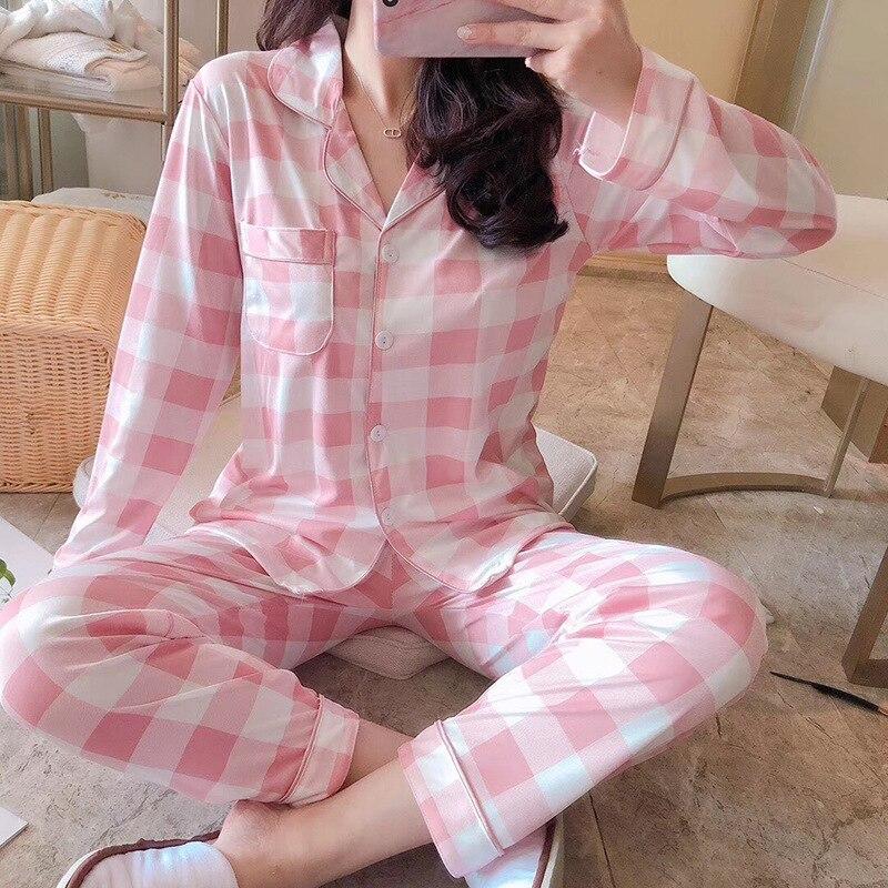 Korean Pjs Women Pajamas Set Winter Cartoon Mickey Striped Shirt Pink Printed Long Sleeve Home Clothes Pijama Mujer Pyjama Femme
