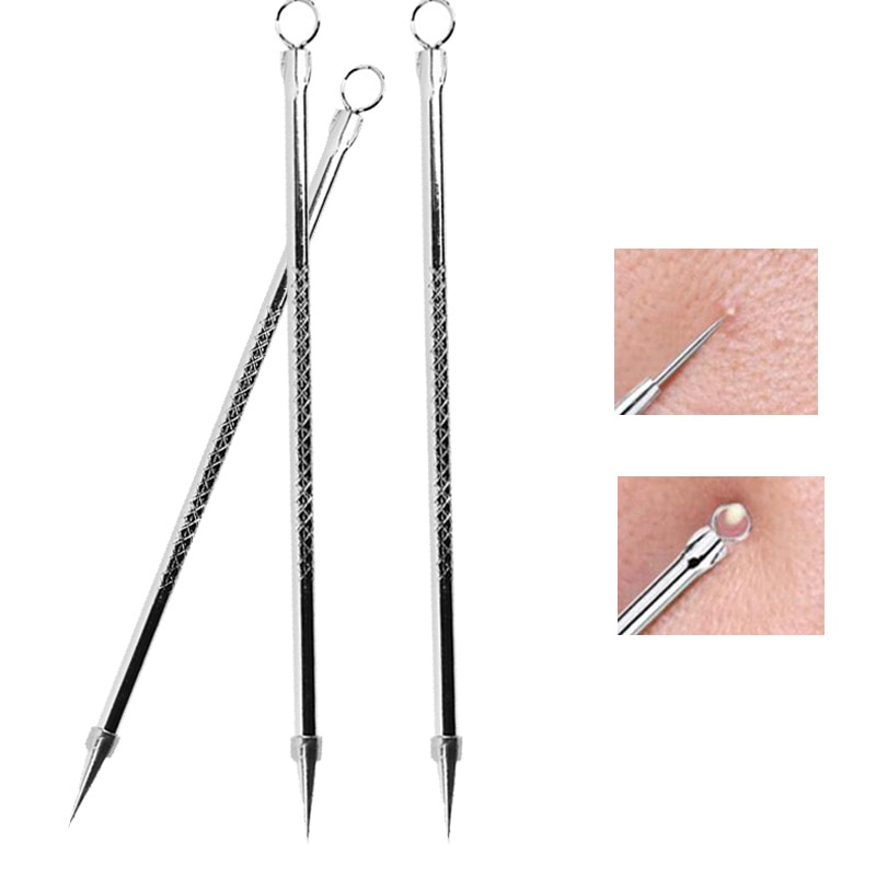 Hot Stainless Steel Blackhead Comedone Acne Blemish Extractor Remover Face Skin Care Pore Cleaner Needles Remove Tools