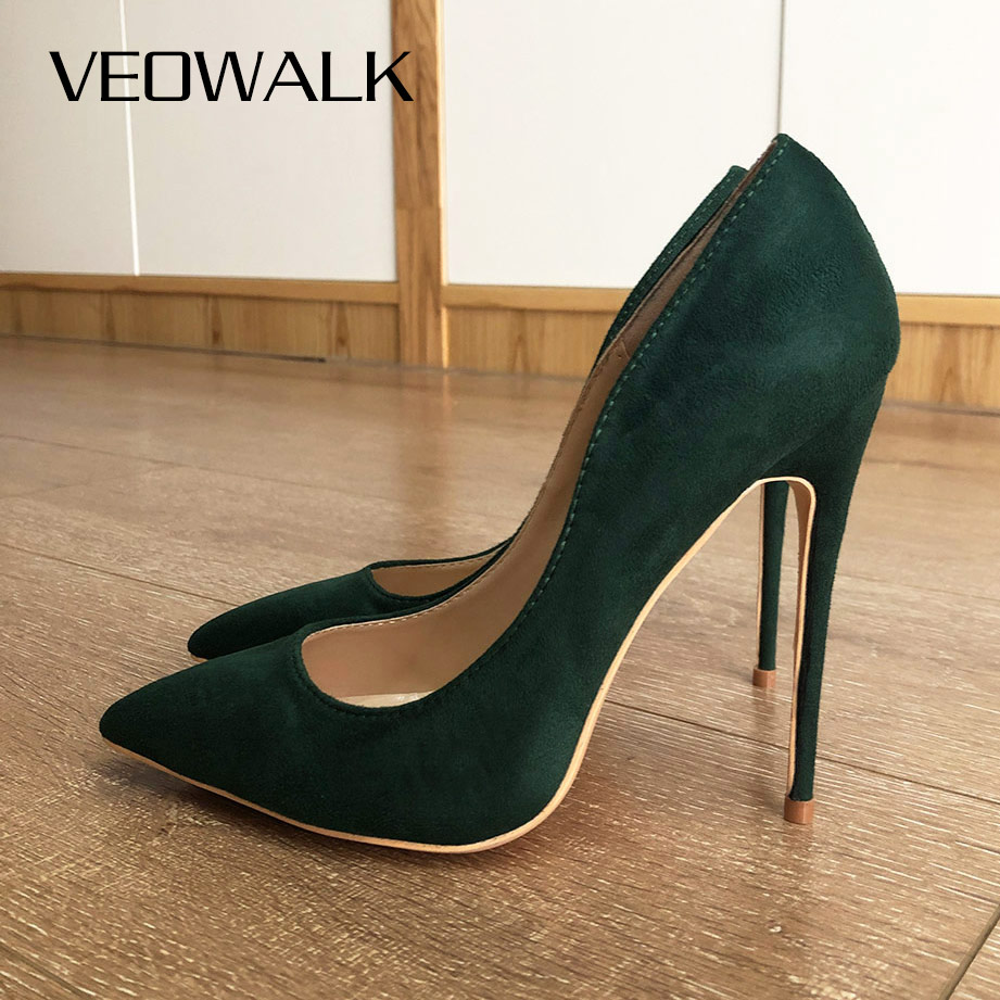 Veowalk الأخضر الداكن قطيع النساء خنجر عالية الكعب أنيقة السيدات بونتد تو موضة مضخات فستان حفلات الزفاف أحذية تخصيص