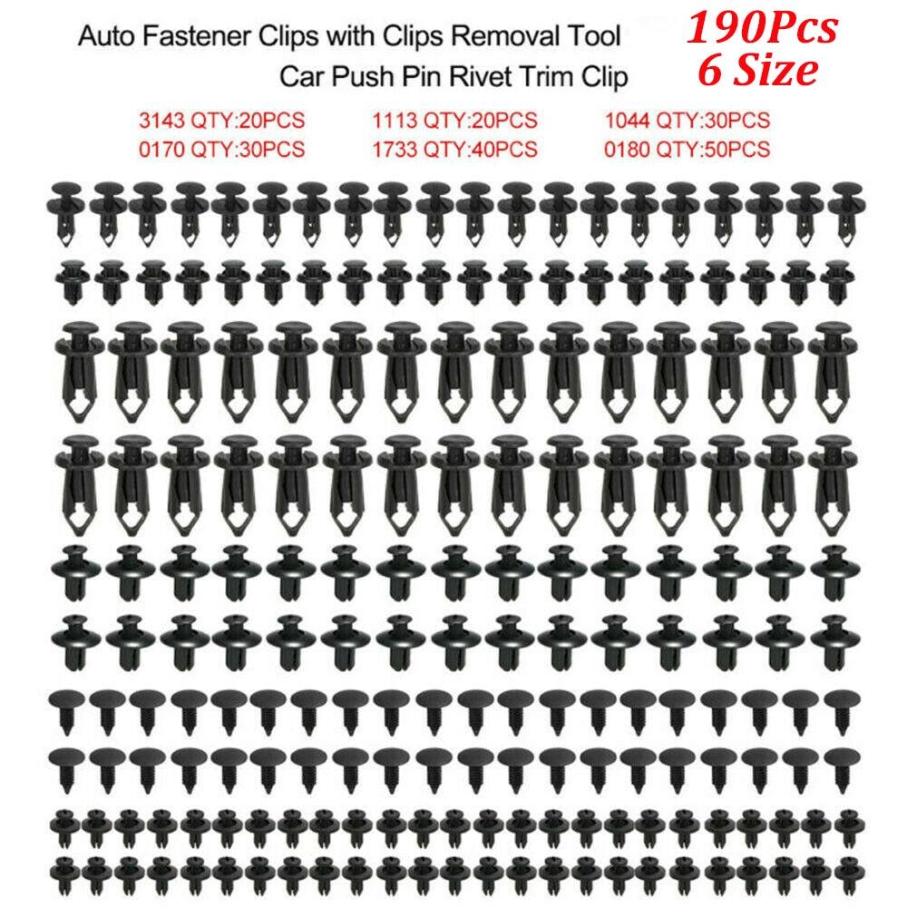 Universal Auto Fastener Clips Plastic Fastener Rivet Clips 190Pcs 6 Sizes Car Push Pin Rivet Trim Clips Fastener Clips Wholesale