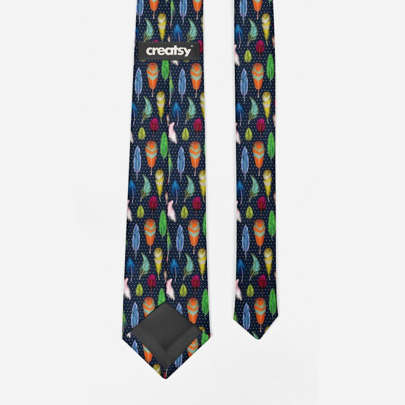 Colorful Feather Printed Ties For Men 8cm Slim Fashion Cool Business Neckties Festival Party Wedding Shirt Accessories Neckties  - buy with discount