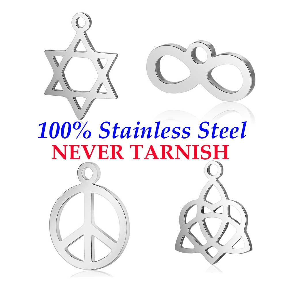 10 peças paz david estrela infinito amor charme atacado 100% aço inoxidável nunca manchar diy jóias encontrando pingente