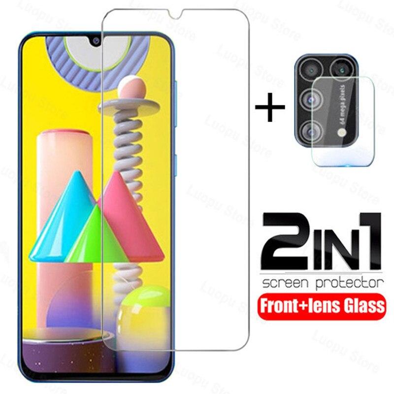 2in 1 gehärtetem glas für samsung galaxy a21 a31 a51 a71 schutz glas kamera objektiv protector für auf samsung m21 m30 m31 стекло