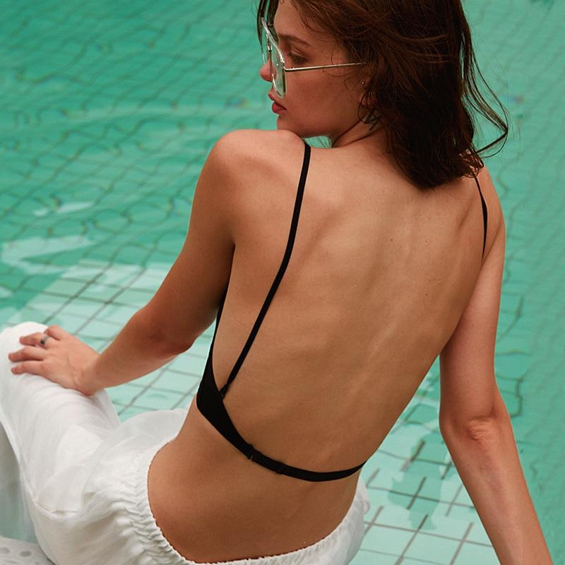حمالات صدر عصرية جديدة ناعمة للنساء حمالة صدر منخفضة الظهر مثيرة بحمالات صدر رافعة ملابس داخلية مبطنة للنساء