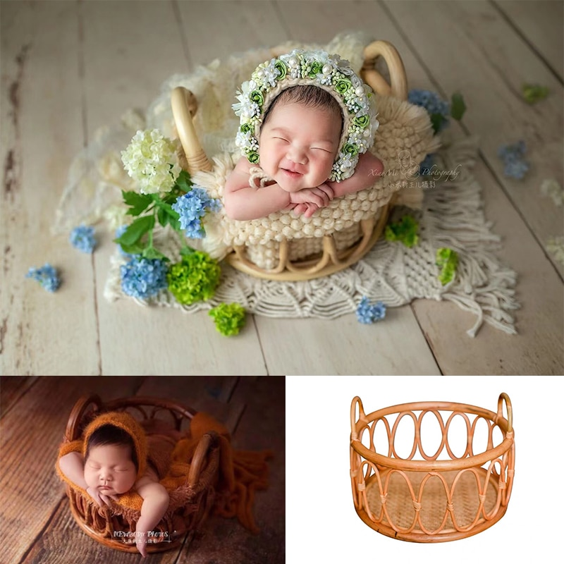 Newborn Photography Prop Hademade Vintage Woven Rattan Basket round basket Chair Cribes Baby Props Photo Shoot Posing Furniture