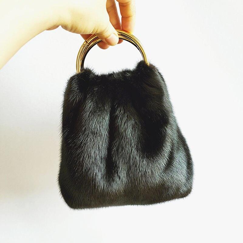 2021 New Women's Mink Fur Handbag Autumn And Winter Fur Plush Wallet Handbag Female Mobile Phone Bag Cosmetic Bag