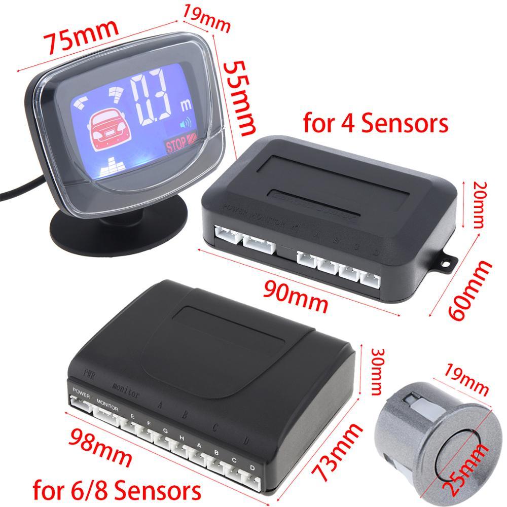 Sistema de Sensor de aparcamiento LCD para coche resistente a la intemperie, sensores 4 / 6 / 8 de marcha atrás, Detector de Radar de aparcamiento para coche