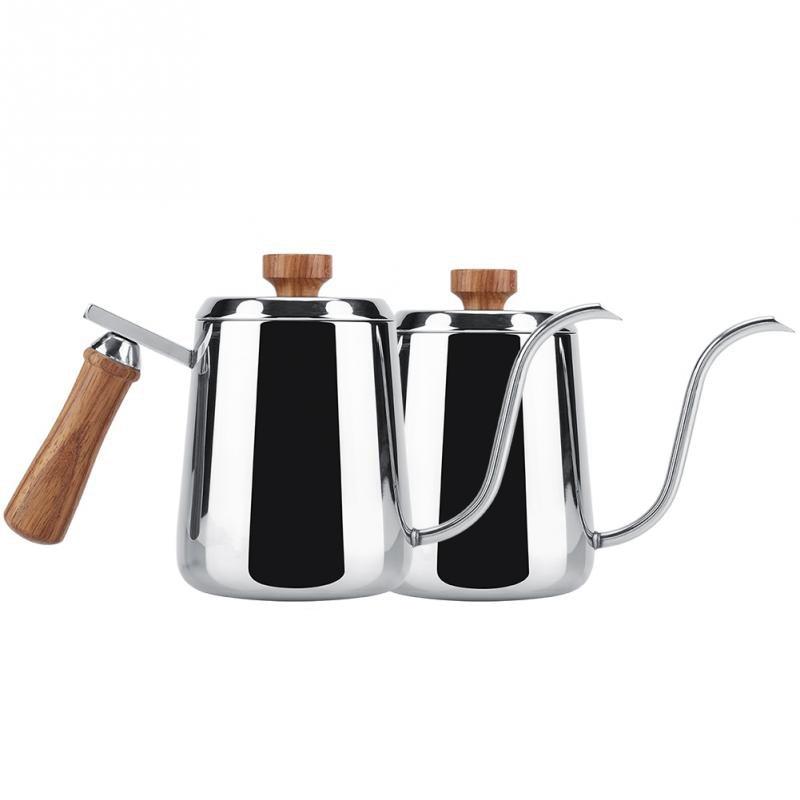 الفولاذ المقاوم للصدأ مقبض خشبي بالتنقيط إبريق قهوة طويلة Gooseneck صنبور غلاية موكا إبريق لإعداد الشاي والقهوة