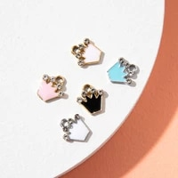 10pcs enamel gold color crown charm pendant for jewerly diy making bracelet women necklace earrings accessories findings craft