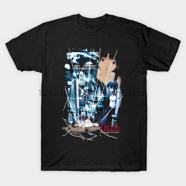 Hombres Camiseta de manga corta Serial Experiments Lain Anime T camisa (1) O el cuello de las mujeres camiseta