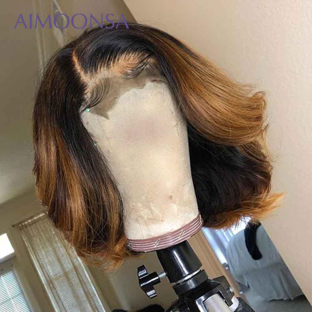 شعر مستعار طبيعي مموج بوب ، شعر ريمي عالي الجودة ، لون بني عسلي ، 13x6 ، 1b 27 ، كثافة 130%