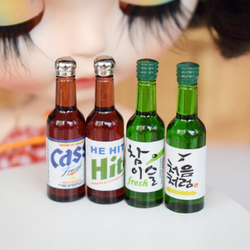 4 botellas, escala 1:6, casa de muñecas, cerveza en miniatura, Corea, modelo Soju, juego de simulación, muñeca, comida, bebidas, accesorios de juguete