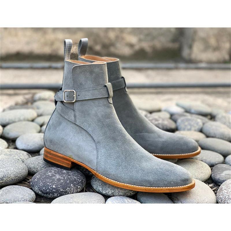2021 جديد الرجال موضة الأعمال فستان كاجوال أحذية اليدوية رمادي فو الجلد المدبوغ قابل للتعديل مشبك مستدير تو كعب منخفض حذاء من الجلد KS371