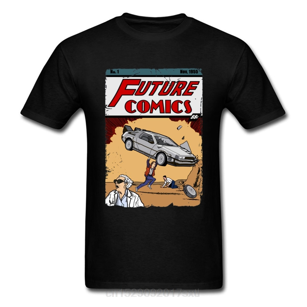 Futuro Comic Book Camiseta Hombre Back To The Future 2 Camisetas de Marty Delorean DMC camisetas 100% algodón negro camiseta divertida ropa