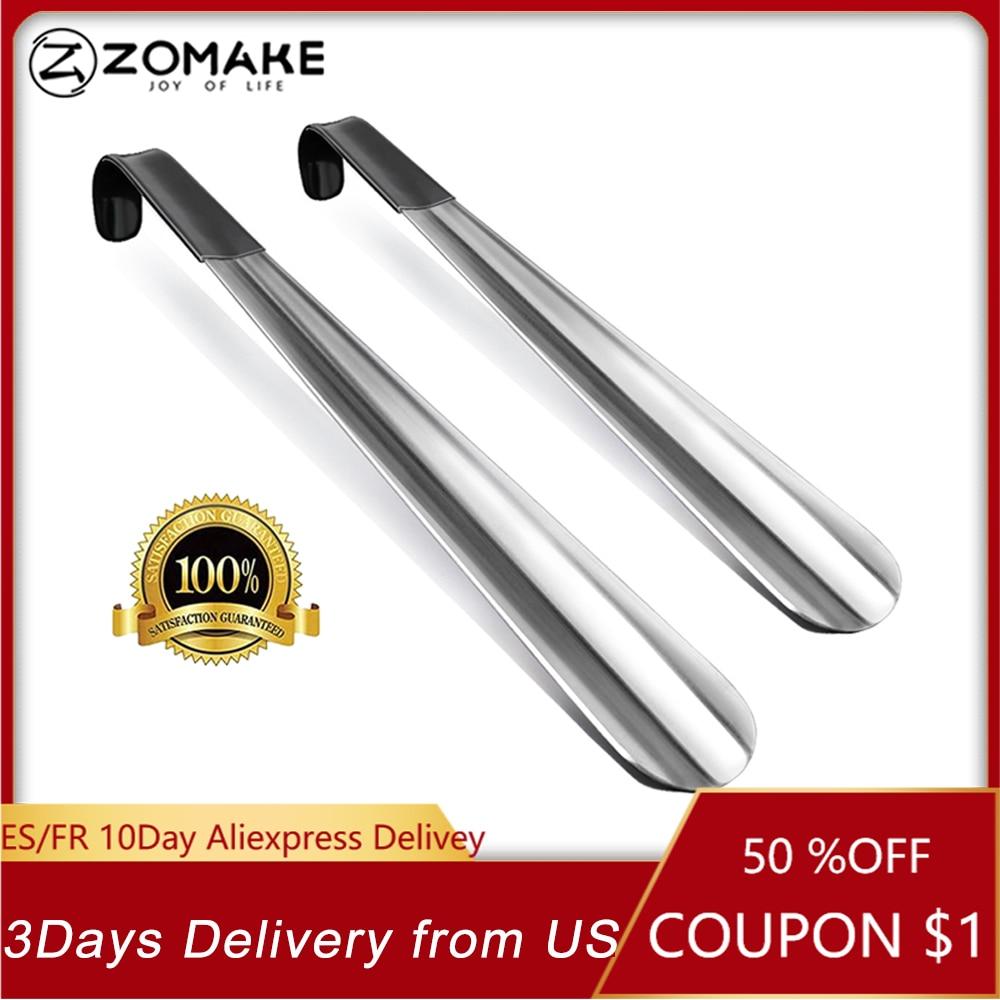 Zomake 2pcs Long Handled Shoe Horn Leather Shoehorn Metal Long No Bending Shoe Spoon Home Tools For Pregnant Backache Eldery