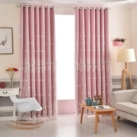 fashion solid color blackout curtains for living room bedroom kitchen pink white embroidered flowers tulle window drapes