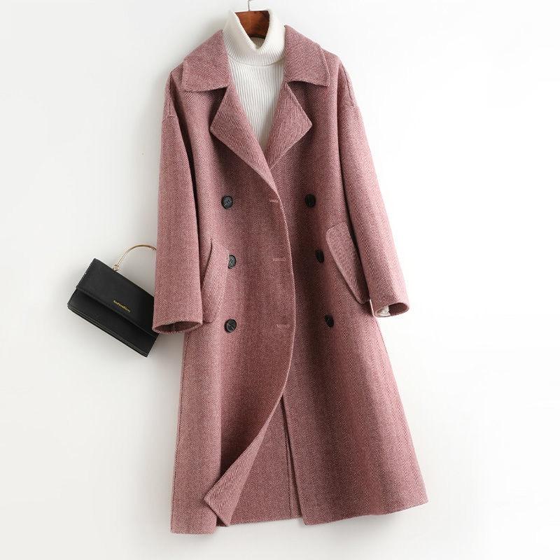 Abrigo de lana a rayas largo para Mujer, gabardina informal, color Beige,...