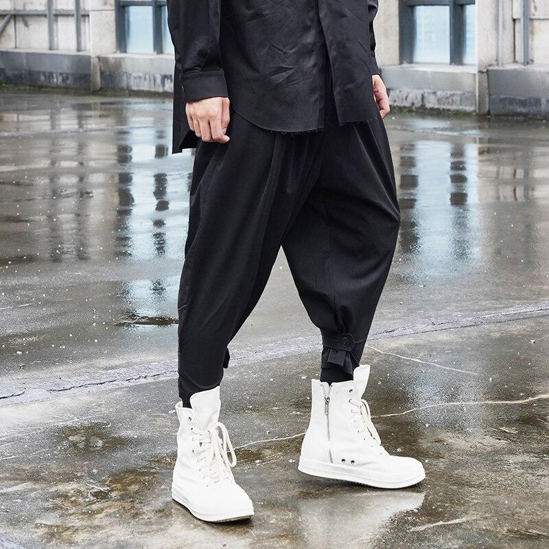بنطال رجالي جديد مصفف شعر داكن تصميم أبازيم للساق موضة الشباب الحضري سروال هارلان 9 سنتات غير رسمي