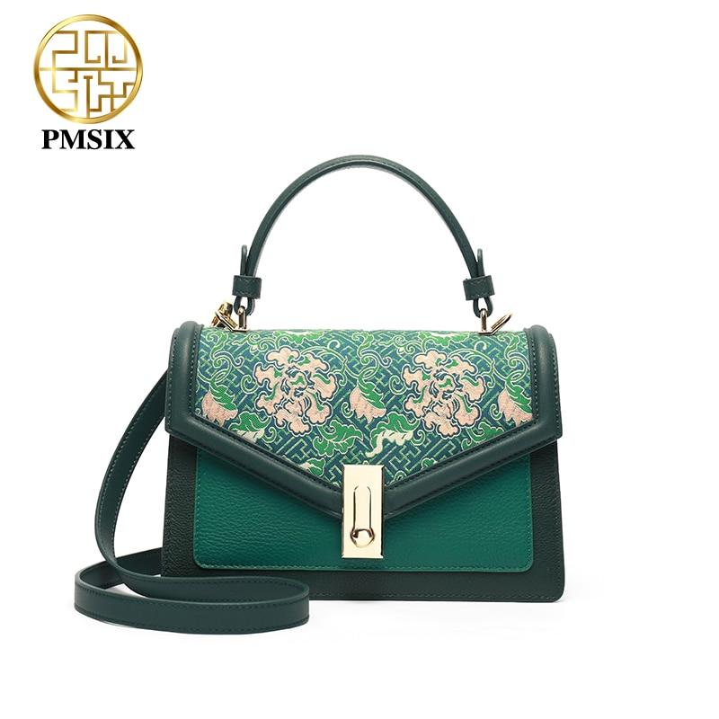 Pmsix, bolso de hombro de cuero genuino para mujer, Mini bolso de diseñador verde para mujer, bolso de mensajero femenino bordado de lujo, pequeña handba