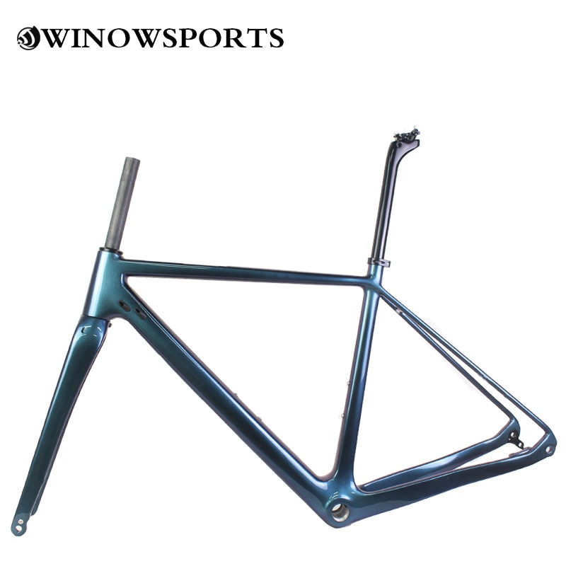 Bicicleta de carretera de carbono camaleón color azul y morado clásico de 2020, estructura de discos de brillo UD para grava y Ciclocross, personalizable