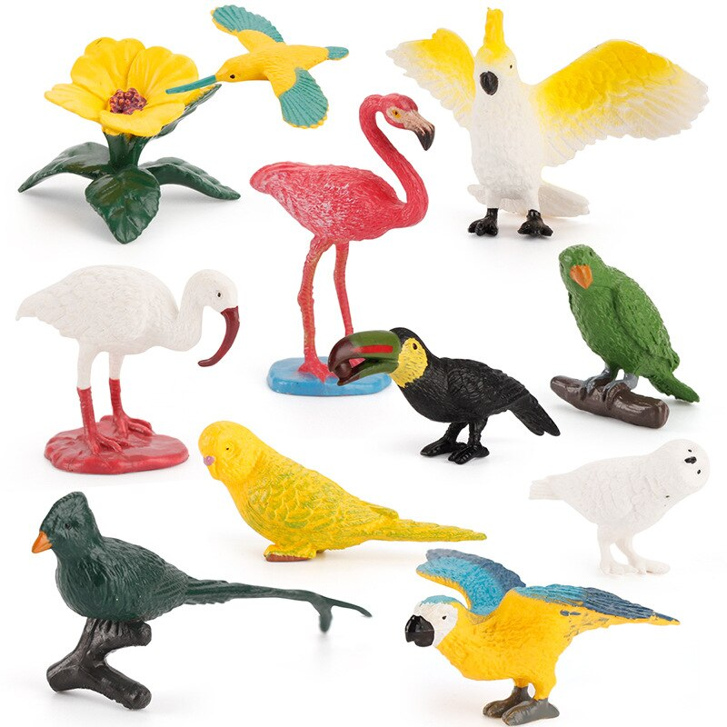 11PCS Mini Simulation Birds Set Toys Parrot Flamingo Hummingbird Cuckoo Macaw Parakeet Ibis Owl Models Action Figures Decor Gift