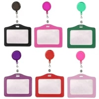 1pc pu horizontal staff work card cover badge holder pass card case with retractable badge reel clip for company employees nurse
