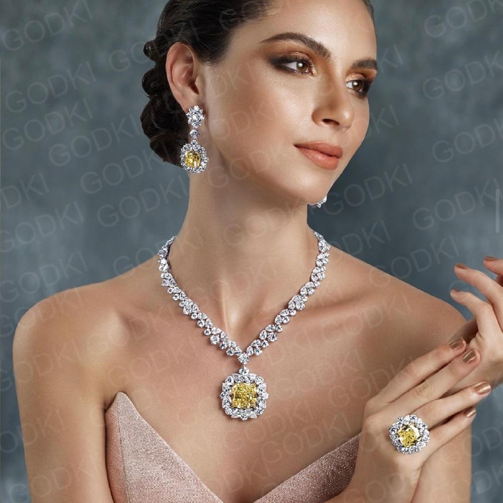 GODKI جديد عصري ساحة الأصفر تشيكوسلوفاكيا طقم مجوهرات للنساء الزفاف الزركون تشيكوسلوفاكيا الأفريقي دبي الزفاف طقم مجوهرات حفلة الرقص