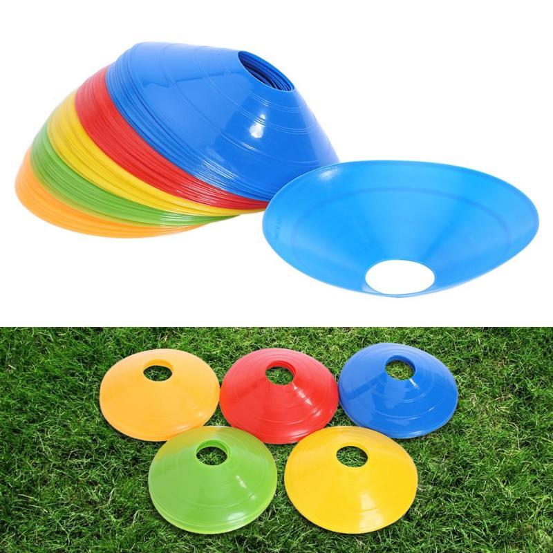 50 pces placa de sinal de futebol disco macio cones de treinamento de futebol marcador discos esportes acessórios 5*20 cm pires esportivos