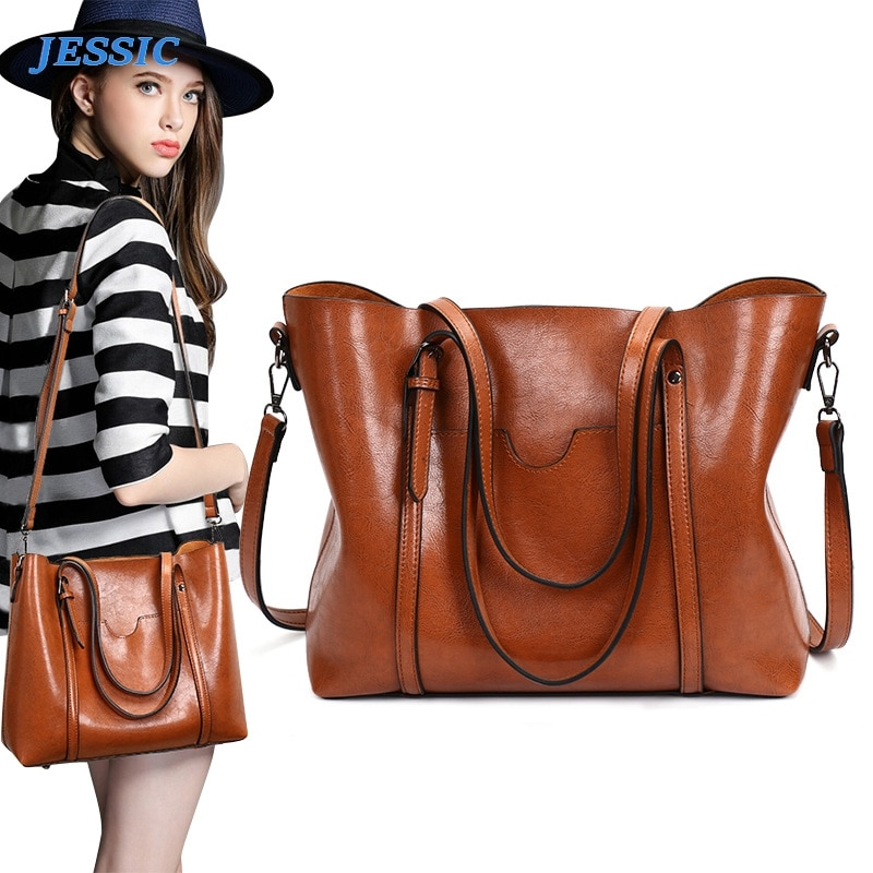 JESSIC New Retro Portable Big Bag Oil Wax Leather Paint Mummy Shoulder Foreign Trade Temperament Female Tote