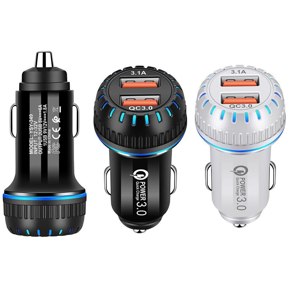 Автомобильное зарядное устройство QC 3,0, двойной USB-кабель, адаптер подходит для телефона, двойной USB QC3.0, быстрая зарядка А, автомобильное зар...