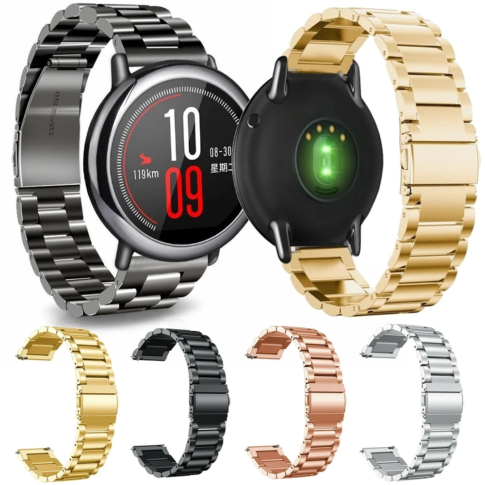 22mm bracelet strap for xiaomi huami amazfit pace stratos 2 gtr 47mm band for samsung gear s3 pulsera for huawei 2 pro gt correa 22mm Stainless Steel Watch Band For Xiaomi Huami Amazfit GTR 47mm Pace Stratos Bracelet Strap For GTR 47mm Pace Stratos