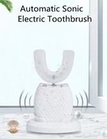 360 degrees intelligent automatic sonic electric toothbrush u type 3 modes tooth brush usb charging tooth whitening blue light