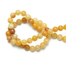 Perles de pierre naturelle en gros Topazes jaunes Jades perles en vrac couture pour la fabrication de bijoux 4mm 6mm 8mm 10mm 12mm Bracelet à bricoler soi-même