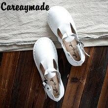 Careaymade-sandales en cuir véritable, chaussures blanches faites à la main, les chaussures plates rétro art mori girl, chaussures rétro japonaises
