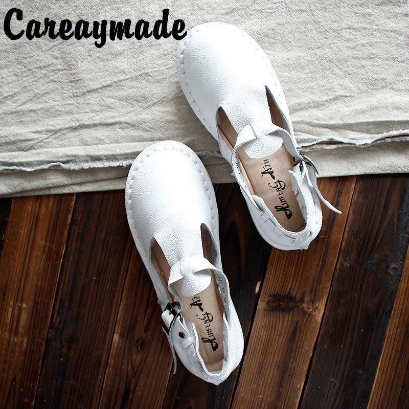 Sandalias de cuero auténtico de Careaymade, zapatos blancos hechos a mano puros, zapatos planos de estilo retro para chica mori, zapatos retro japoneses