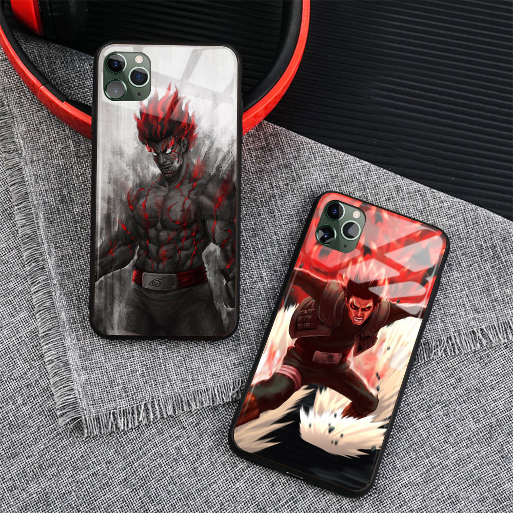 Anime Naruto que tipo de silicona suave brillante de vidrio de la cubierta de la caja del teléfono Shell para iPhone 6 6s 7 7 Plus X XR XS 11 Pro Max