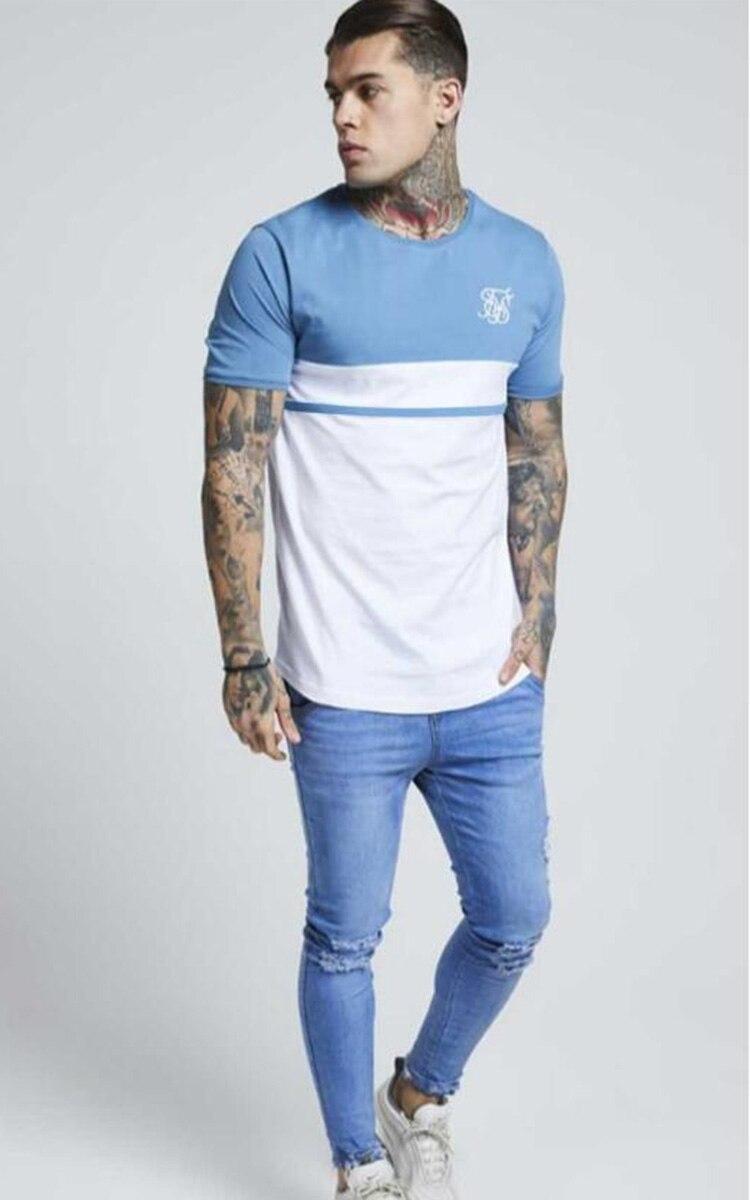 Hohe Qualität Baumwolle Sommer Neue Sik Silk Mode männer Flut Marke T-Shirt Casual Nähte Kurzarm T-Shirt Männer der Tops