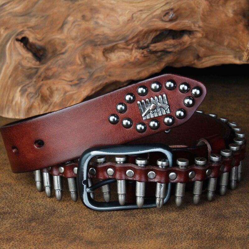 CETIRI Punk bala remache cinturón hombres de grano superior de cuero Real cinturón Pin hebilla cinturón para Jeans personalidad femenina Cool regalo