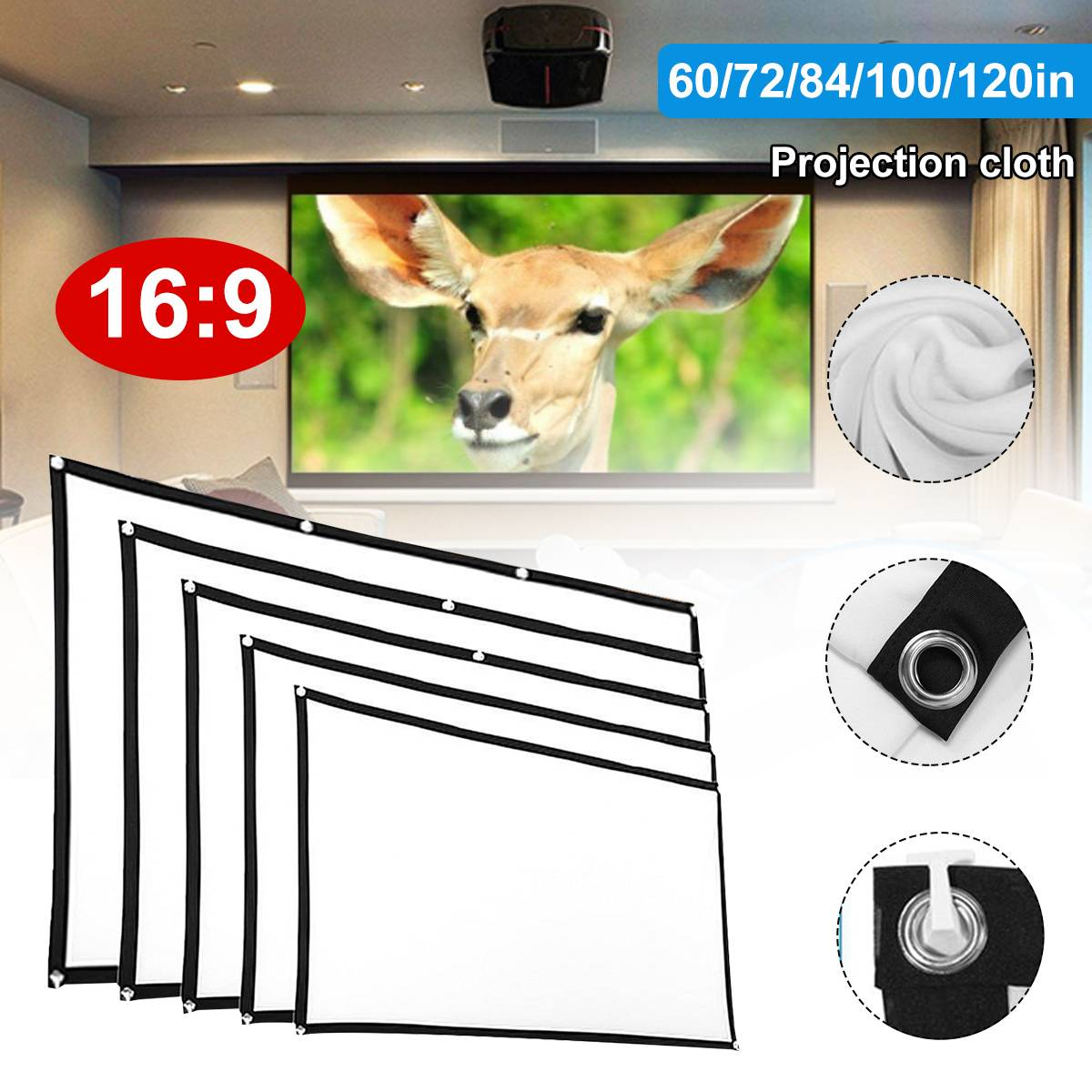 Ao ar livre 16 9 tela de projeção pano macio 4 k 3d hd projetor filme 60/72/84/100/120 polegadas dobrável para o filme de acampamento em casa