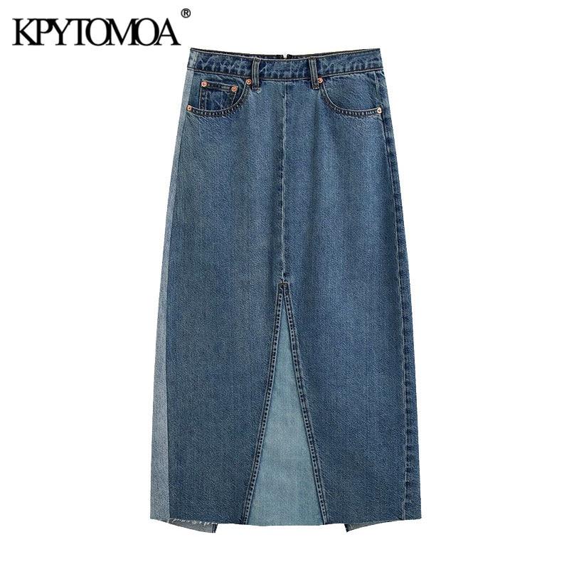 Kpytomoa 2020 chique moda escritório wear retalhos denim midi saia vintage volta zíper aberturas saias femininas faldas mujer