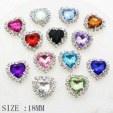 YWXINXI Fine 10 pcs Peach heart Rhinestone Decorative button Wedding dress Crystal heart-shaped Button DIY creative production